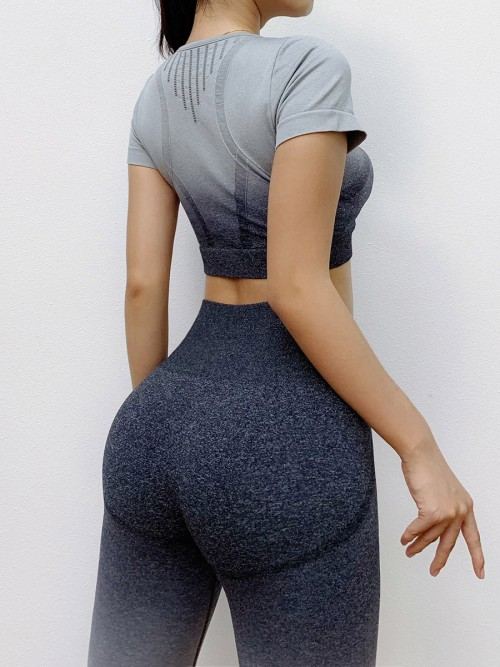 Tight Black Seamless Yoga Suit Gradient High Rise Running Clothes