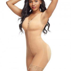Tight Skin Color Front Zipper Latex Bodysuit Big Size