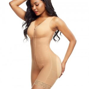 Tight Skin Color Front Zipper Latex Bodysuit Big Size
