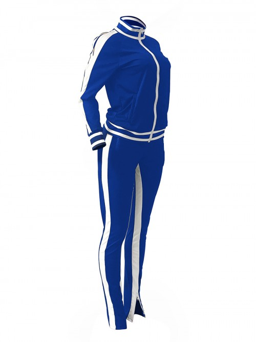Ultra Cheap Blue Cold Shoulder Zipper Jacket Tracksuit Running Clothes