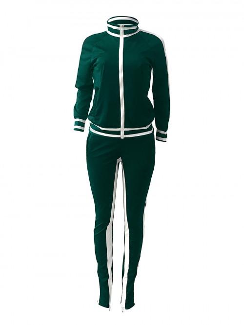 Ultra Cheap Green Cold Shoulder Zipper Jacket Tracksuit Running Clothes