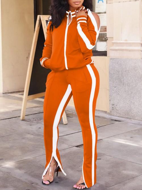 Ultra Cheap Orange Cold Shoulder Zipper Jacket Tracksuit Running Clothes