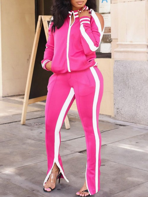 Ultra Cheap Rose Red Cold Shoulder Zipper Jacket Tracksuit Running Clothes