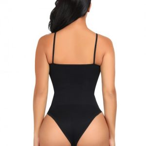 Unbelievable Black Seamless Thin Straps Bodysuit Compression