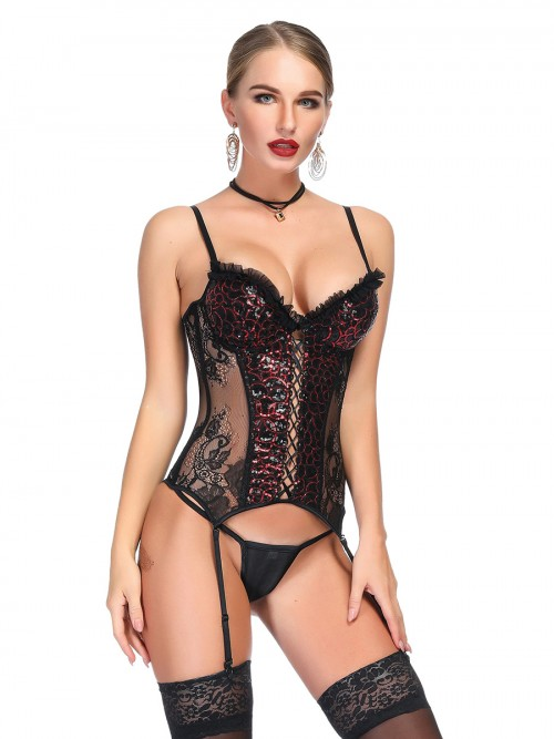 Unbranded Rhinestone Lace Splice Bustier Thong Slimming Figure