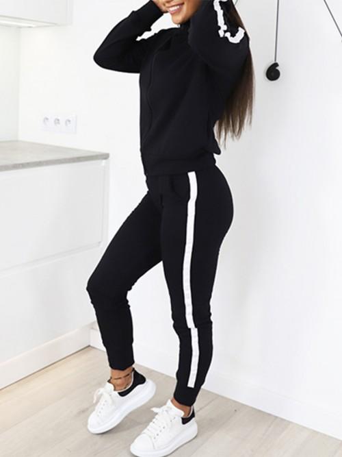Unique Black Long Sleeves Sports Set With Pockets Feminine