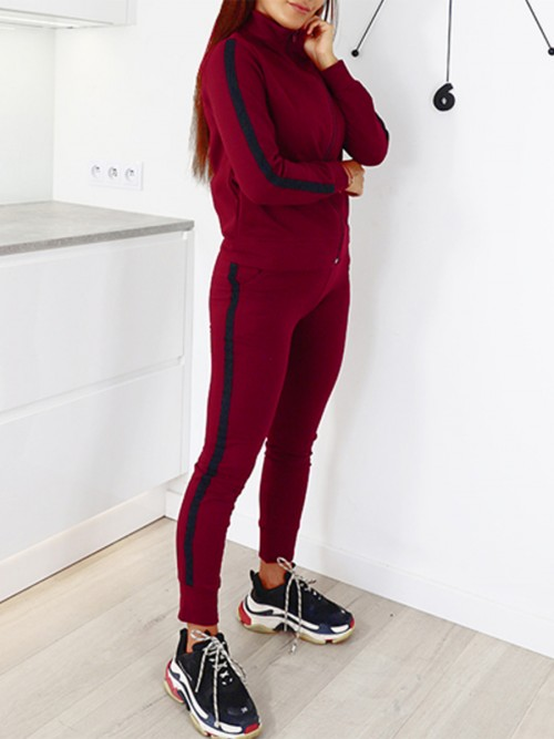 Unique Red Long Sleeves Sports Set With Pockets Feminine