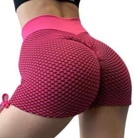 Unique Rose Red Sports Shorts Side Drawstring Ruched Trendy Style