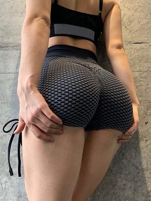 Unique Dark Grey Sports Shorts Side Drawstring Ruched Trendy Style