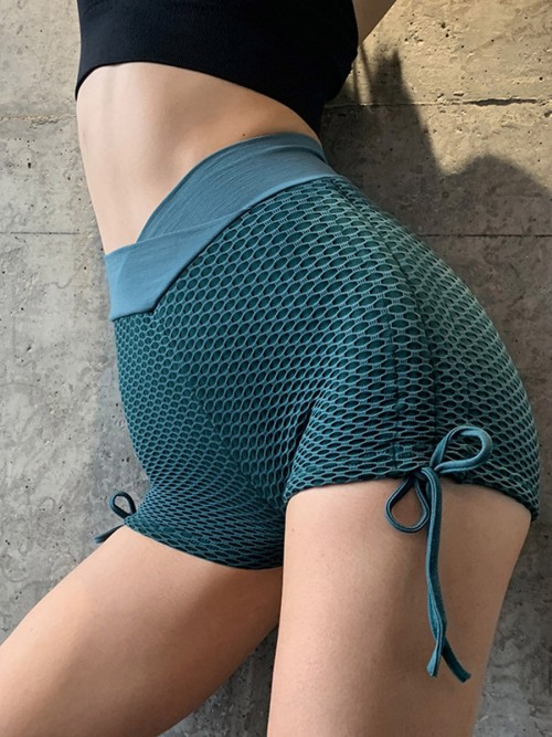 Unique Lake Blue Sports Shorts Side Drawstring Ruched Trendy Style