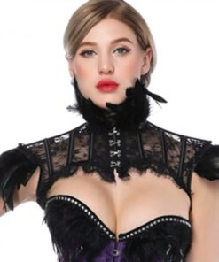 Ventilate Black Gothic Vintage Feather Shawl Collar Extra Sexy