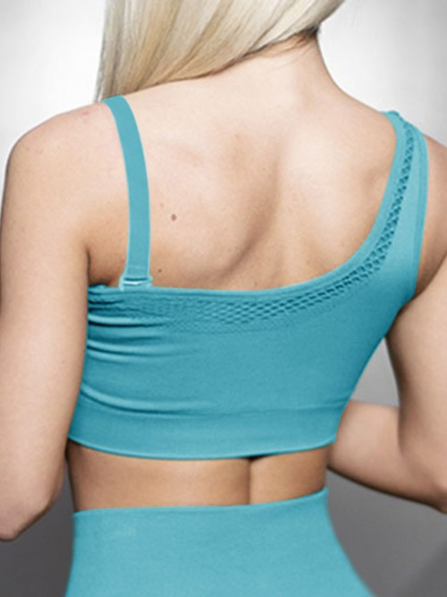 Virtuoso Blue Solid Color Workout Bra One Shoulder Casual