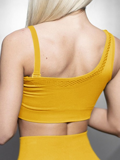 Virtuoso Yellow Solid Color Workout Bra One Shoulder Casual