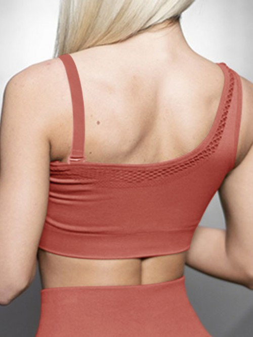 Virtuoso Brown Solid Color Workout Bra One Shoulder Casual