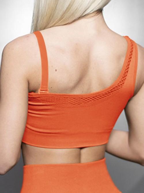 Virtuoso Orange Solid Color Workout Bra One Shoulder Casual