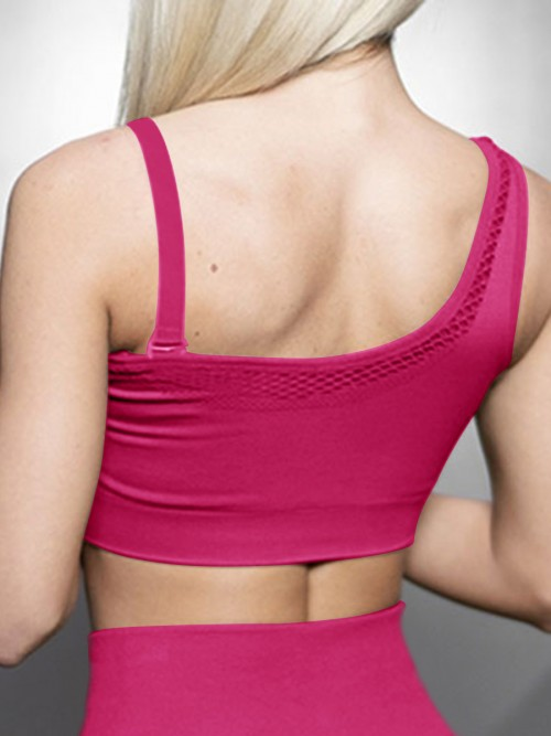 Virtuoso Rose Red Solid Color Workout Bra One Shoulder Casual