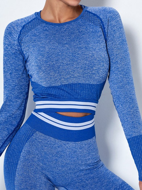Workout Blue Hollow Out Raglan Sleeve Running Top Soft-Touch