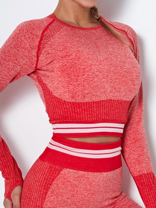 Workout Red Hollow Out Raglan Sleeve Running Top Soft-Touch