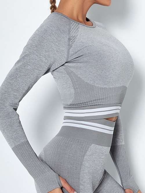 Workout Light Gray Hollow Out Raglan Sleeve Running Top Soft-Touch