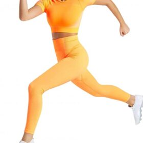 Young Girl Yellow Round Neck Top High Waist Yoga Legging Weekend