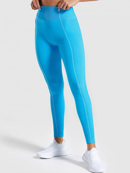Young Girl Blue Round Neck Top High Waist Yoga Legging Weekend