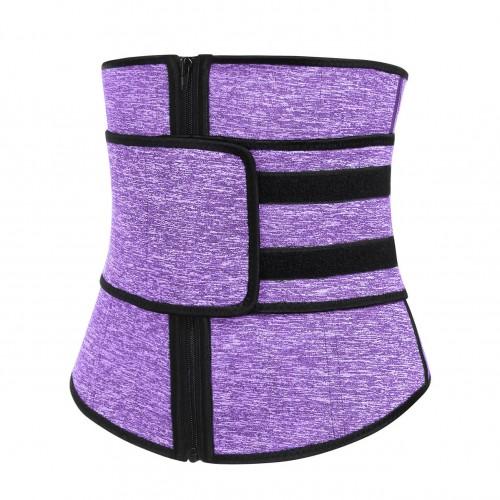 Black Front Zip And Belt Neoprene Waist Trainer Tummy Trimmer Purple