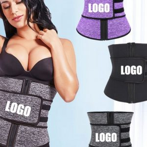 Black Front Zip And Belt Neoprene Waist Trainer Tummy Trimmer