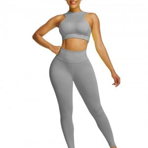 Elastic Gray High Waist Yogawear Set Crop Sleeveless For Runner