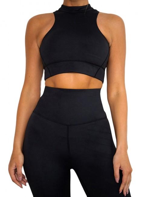 Elastic Black High Waist Yogawear Set Crop Sleeveless For Runner