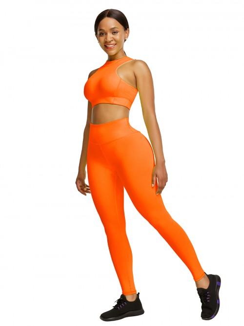 Elastic Orange High Waist Yogawear Set Crop Sleeveless For Runner