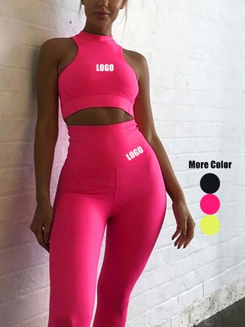 Elastic Pink High Waist Yogawear Set Crop Sleeveless For Runner