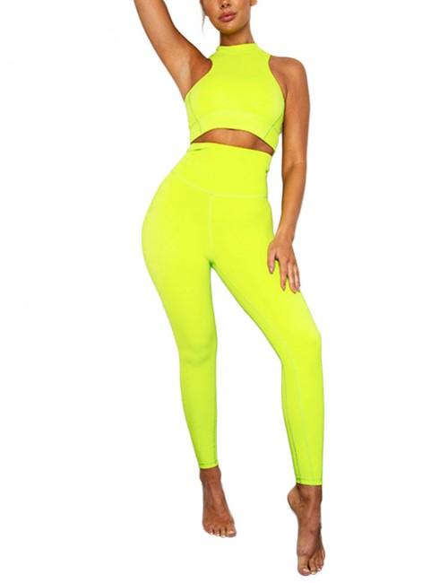 Elastic Yellow High Waist Yogawear Set Crop Sleeveless For Runner