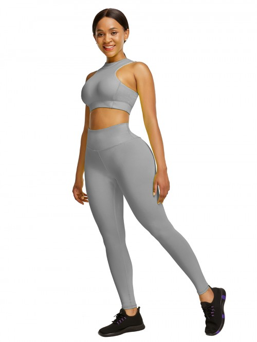 Elastic Gray High Waist Yogawear Set Crop Sleeveless For Runner