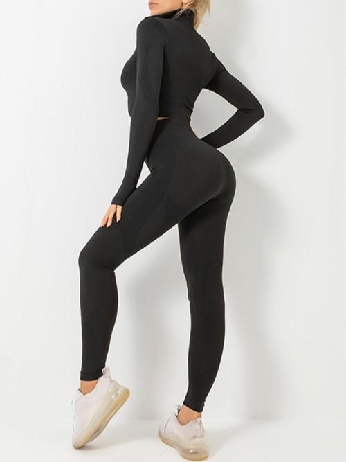 Modern Black Sports Top Zipper And High Waist Pants Slimming Fit