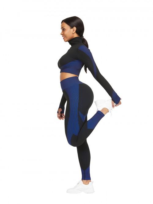 Modern Blue Sports Top Zipper And High Waist Pants Slimming Fit
