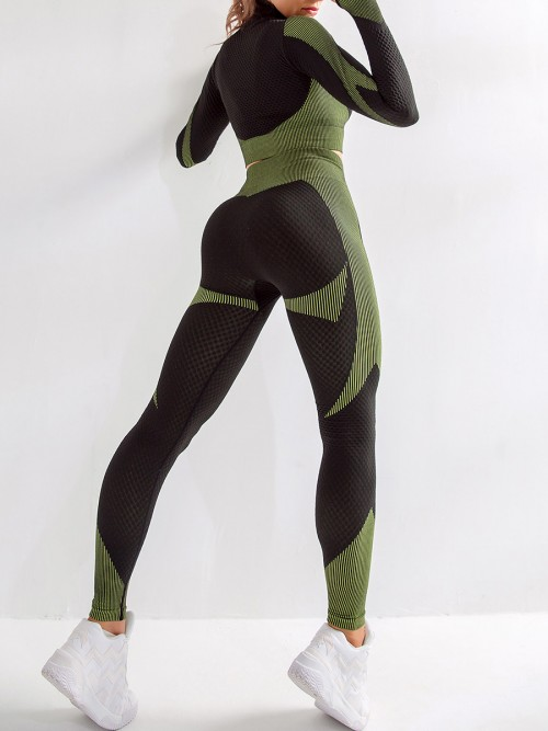 Modern Green Sports Top Zipper And High Waist Pants Slimming Fit