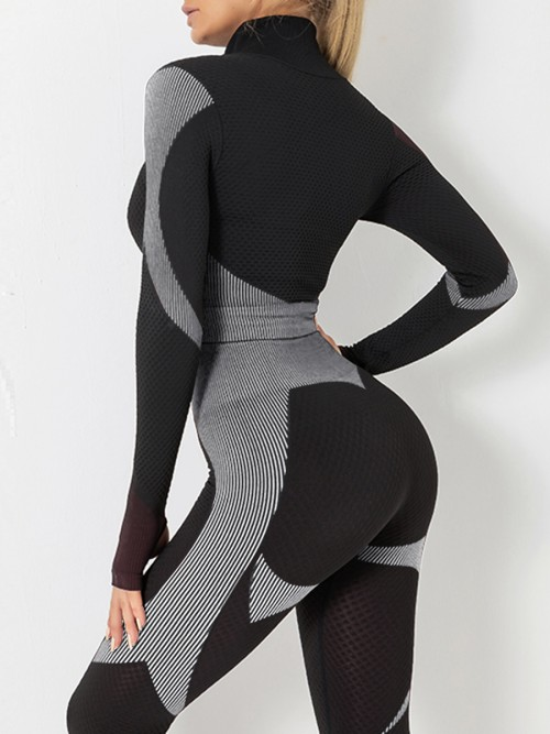 Modern Grey Sports Top Zipper And High Waist Pants Slimming Fit