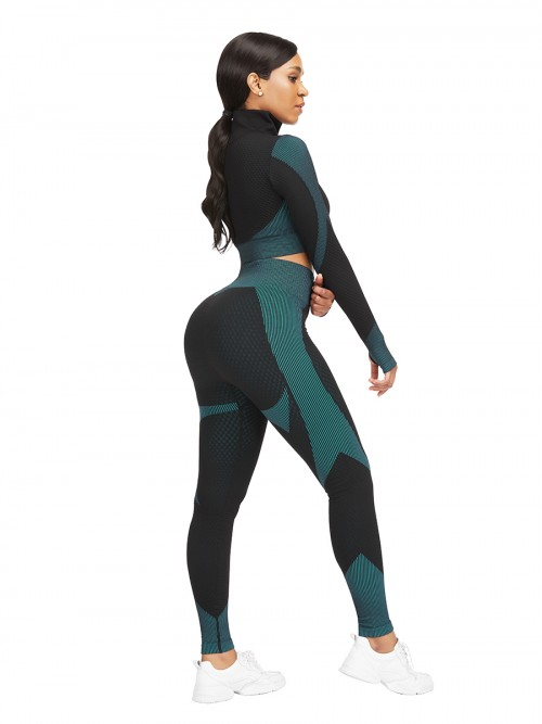 Modern Lake Blue Sports Top Zipper And High Waist Pants Slimming Fit