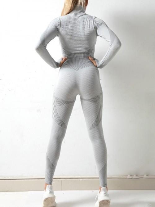 Modern Light Grey Sports Top Zipper And High Waist Pants Slimming Fit