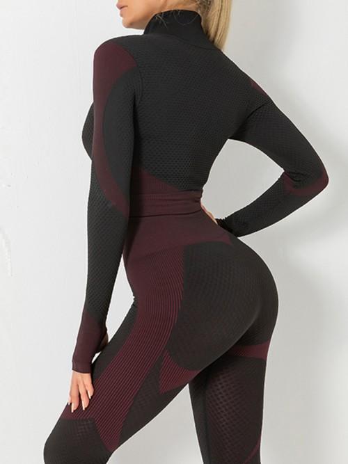 Modern Purple Sports Top Zipper And High Waist Pants Slimming Fit