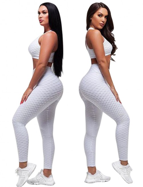 Stretchy White Athleticwear High Rise Paddings Jacquard Women's Clothing