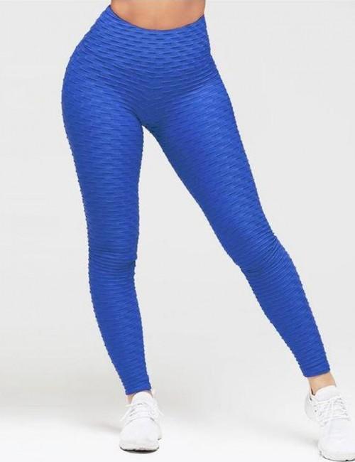 Sweat Yoga Legging Butt Enhance Nice Quality Lightweight Plain Ankle Length Blue