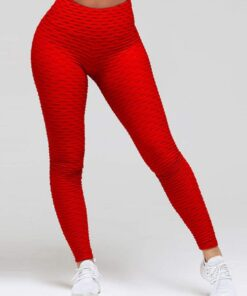 Sweat Yoga Legging Butt Enhance Nice Quality Lightweight Plain Ankle Length Red