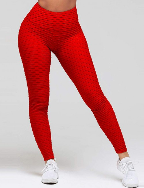 Sweat Yoga Legging Butt Enhance Nice Quality Lightweight Plain Ankle Length Red