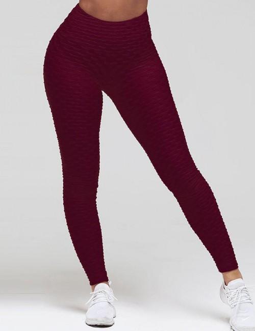 Sweat Yoga Legging Butt Enhance Nice Quality Lightweight Plain Ankle Length Wine Red